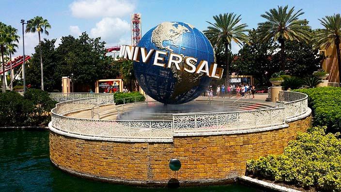 The view of Univerasal globe in theme resort park, Orlando, FL